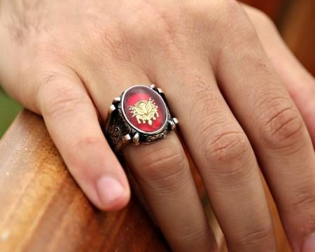 - Kırmızı Mine Üzerine Osmanlı Tuğralı 925 Ayar Gümüş Oval Yüzük