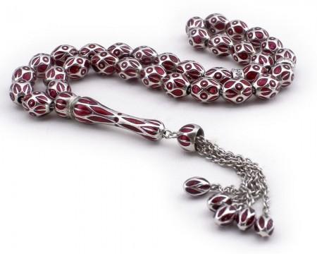 Tesbihane - Kırmızı Mineli 925 Ayar Gümüş Tesbih