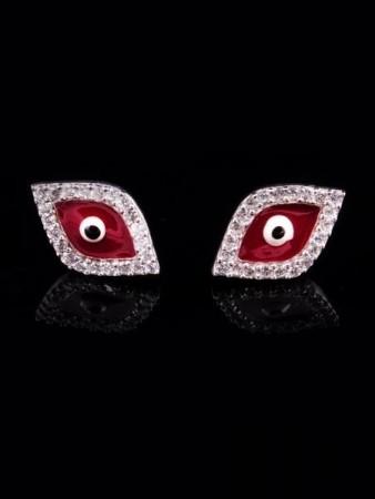 Kırmızı Mineli Göz Küpe - Thumbnail