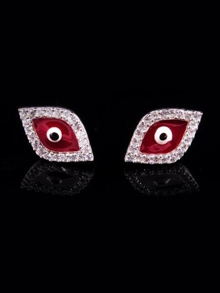 Kırmızı Mineli Göz Küpe