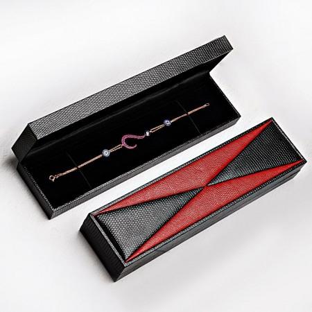Tesbihane - Kırmızı Siyah Deri Tesbih-Bileklik Kutusu