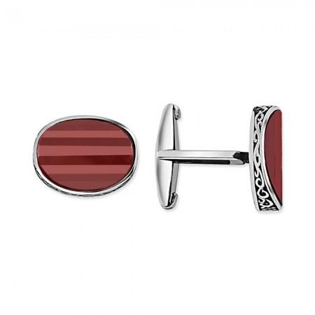Tesbihane - Kırmızı Taşlı Kol Gümüş Düğmesi (model-2)
