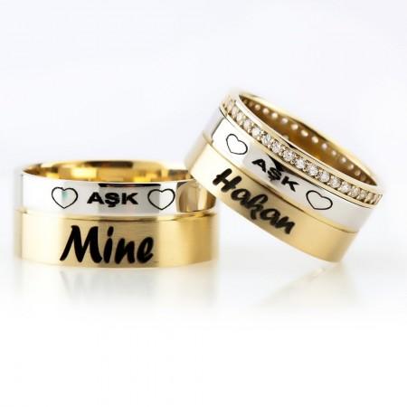 - Kişiye Özel 925 Ayar Gümüş Aşk Yazılı Çift Alyans