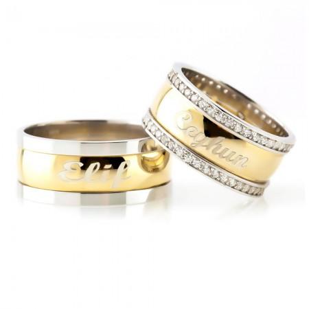- Kişiye Özel İsim Yazılı Gold Renk 925 Ayar Gümüş Çift Alyans