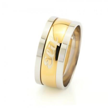 - Kişiye Özel İsim Yazılı Gold Renk 925 Ayar Gümüş Bayan Alyans