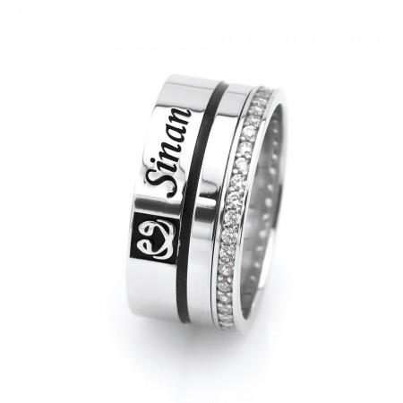 - Kişiye Özel 925 Ayar Gümüş Çift Vav Tasarım Bayan Alyans