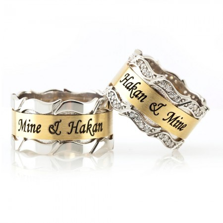 - Kişiye Özel 925 Ayar Gümüş Dalgalı Çift Alyans