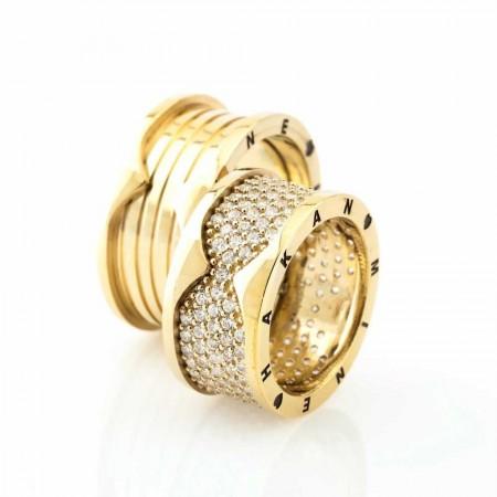 Tesbihane - İsim Yazılı Özel Tasarım Gold Renk 925 Ayar Gümüş Çift Alyans