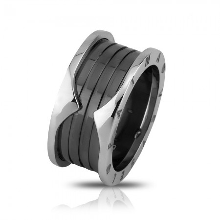 Tesbihane - İsim Yazılı Özel Tasarım Gri-Siyah 925 Ayar Gümüş Erkek Alyans