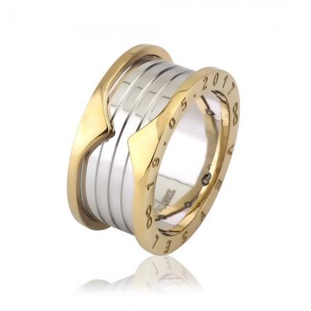 Tesbihane - İsim Yazılı Özel Tasarım Gold-Beyaz 925 Ayar Gümüş Erkek Alyans