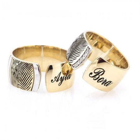 Tesbihane - İsim Yazılı Parmak İzi Tasarım 925 Ayar Gümüş Çift Alyans