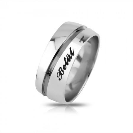 - Kişiye Özel 925 Ayar Gümüş Su Yolu Erkek Alyans - Model 3