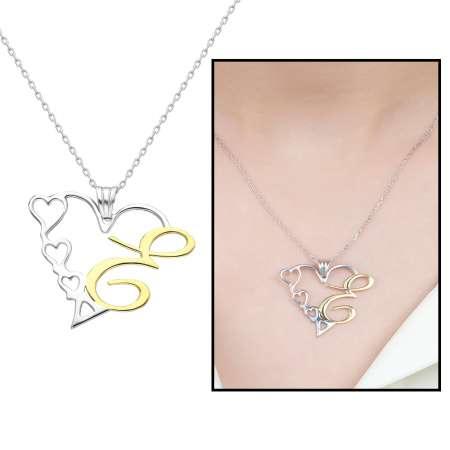 Tesbihane - Kişiye Özel Harf Yazılı 925 Ayar Gümüş Bayan Kalp Kolye
