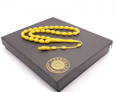 Tesbihane - Kişiye Özel Hediye Kutulu Yedek İmame Habbeli Sarı Sıkma Kehribar Tesbih