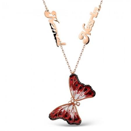 - Kişiye Özel İsim Yazılı 925 Ayar Gümüş Kırmızı Kelebek Kolye