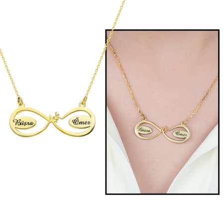 Tesbihane - Kişiye Özel İsim Yazılı Gold Renk 925 Ayar Gümüş Aşk-Sonsuzluk Kolye