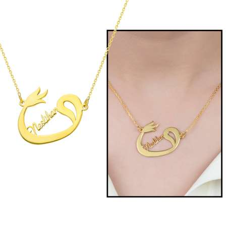 Tesbihane - Kişiye Özel İsim Yazılı Gold Renk 925 Ayar Gümüş Bayan Vav-Lale Kolye