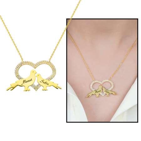 Tesbihane - Kişiye Özel İsim Yazılı Gold Renk 925 Ayar Gümüş Kalp-Güvercin Kolye