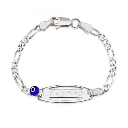 Tesbihane - 925 Ayar Gümüş Figaro Zincirli Nazar Boncuğu Tasarım İsim Yazılı Çocuk Bileklik