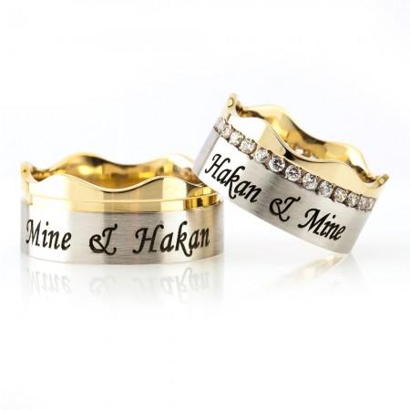 - Kişiye Özel İsim Yazılı Dalgalı Tasarım 925 Ayar Gümüş Çift Alyans