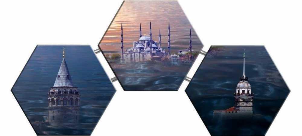 Kız Kulesi, Galata Kulesi ve Cami Temalı Kanvas Tablo