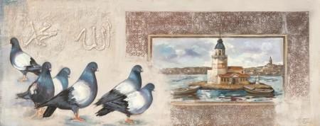 Tesbihane - Kız Kulesi-Kumru Temalı Kanvas Tablo