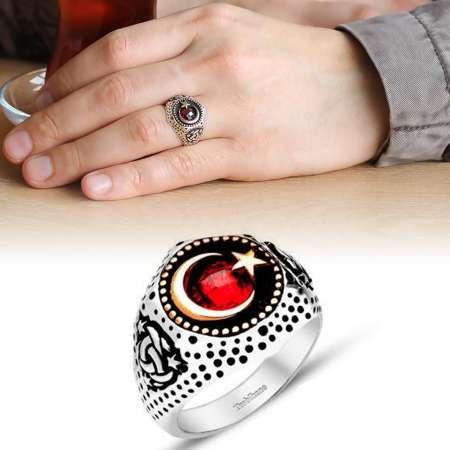 - Ayyıldız Motifli Zirkon Taşlı 925 Ayar Gümüş Teşkilat-ı Mahsusa Yüzüğü