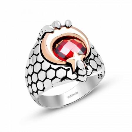 Tesbihane - Kızıl Pençe - 925 Ayar Gümüş Ay Yıldız Pençeli Özel Tasarım Yüzük (11020020)