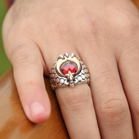 - Kızıl Pençe - 925 Ayar Gümüş Ay Yıldız Pençeli Özel Tasarım Yüzük