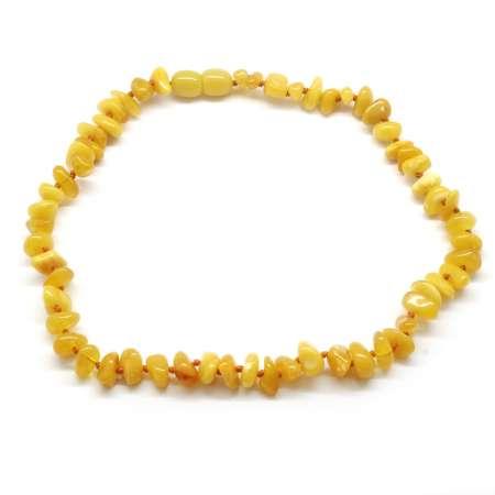 Tesbihane - Koyu Sarı Orijinal Damla Kehribar Taşlı Bebek Diş Kolyesi