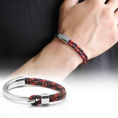 Tesbihane - Kuğu Tasarım Çift Sıra Kırmızı-Siyah Deri-Çelik Kombinli Erkek Bileklik