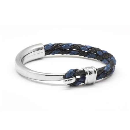 Tesbihane - Kuğu Tasarım Çift Sıra Mavi-Siyah Deri-Çelik Kombinli Erkek Bileklik