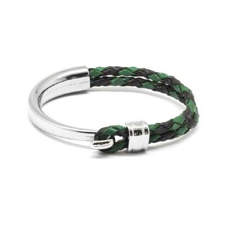Tesbihane - Kuğu Tasarım Çift Sıra Yeşil-Siyah Deri-Çelik Kombinli Erkek Bileklik
