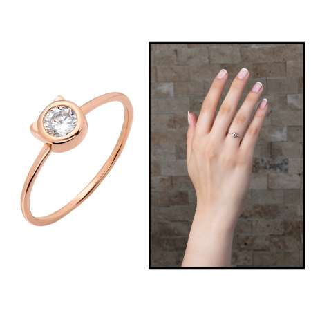 Kurdela Tasarım Roz Renk 925 Ayar Gümüş Bayan Tektaş Yüzük - Thumbnail