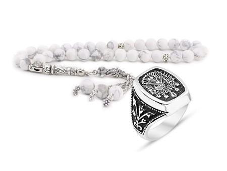 Tesbihane - Küre Kesim Havlit Tesbih ve 925 Ayar Gümüş Adanalı Dizisi Yüzüğü