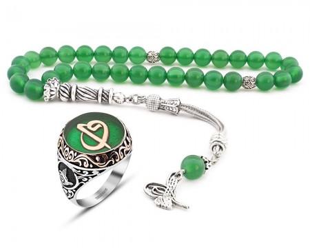 - Küre Kesim Yeşil Akik Tesbih Yeşil Mine Üzerine Elif Vav Harfli 925 Ayar Gümüş Yüzük Kombini