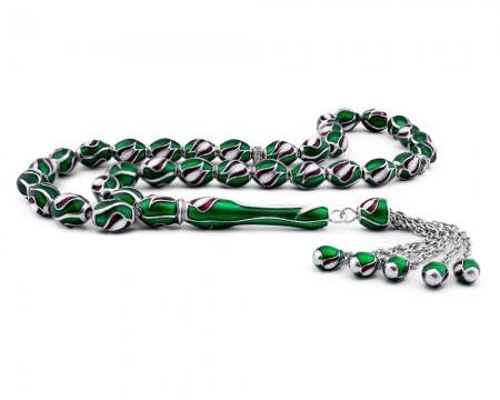 Tesbihane - Lale Tasarım Yeşil Mineli Gümüş Tesbih