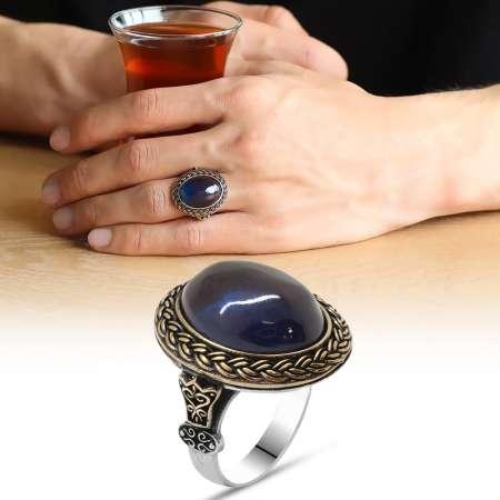 Tesbihane - Mavi Ateş Kehribar Taşlı Oval Tasarım 925 Ayar Gümüş Erkek Yüzük