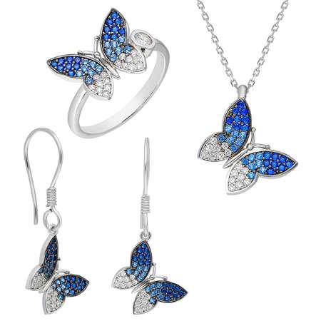 Tesbihane - Mavi-Beyaz Zirkon Taşlı Kelebek Tasarım 925 Ayar Gümüş 3'lü Takı Seti