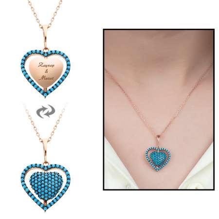 Tesbihane - Mavi Firuze Taşlı Kişiye Özel İsim Yazılı Rose Renk 925 Ayar Gümüş Kalp Kolye