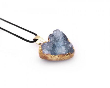 - Mavi Kristal Mineral Doğaltaş Kalp Kolye