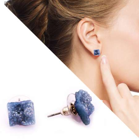 Tesbihane - Mavi Kristal Doğaltaşlı Dörtgen Tasarım Küpe