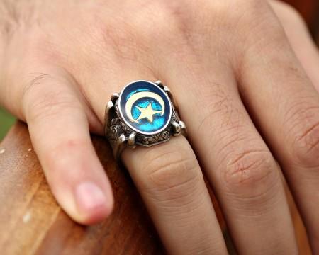 Tesbihane - Mavi Mine Üzerine Ayyıldız 925 Ayar Gümüş Oval Yüzük