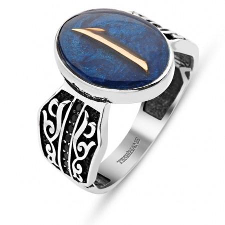 - Mavi Mine Üzerine Elif Harfli 925 Ayar Gümüş Yüzük