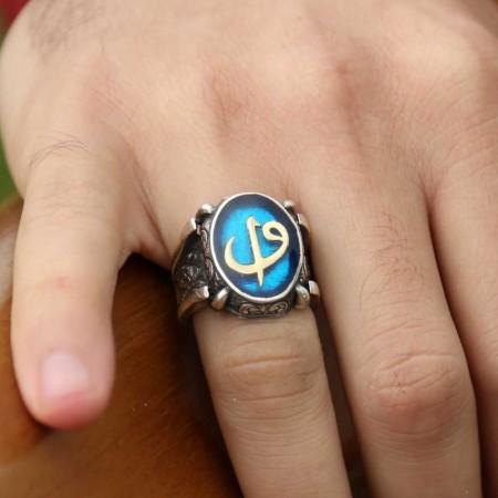 - Mavi Mine Üzerine Elif Vav 925 Ayar Gümüş Oval Yüzük