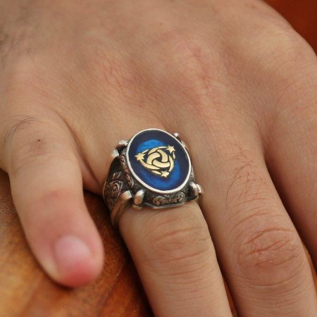 Tesbihane - Mavi Mine Üzerine Teşkilat-I Mahsusa 925 Ayar Gümüş Oval Yüzük