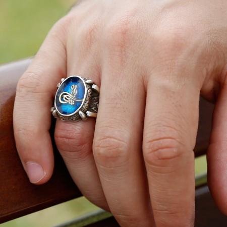 Tesbihane - Mavi Mine Üzerine Tuğralı 925 Ayar Gümüş Oval Yüzük