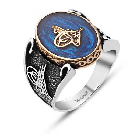 - Mavi Mine Üzerine Tuğralı 925 Ayar Gümüş Yüzük
