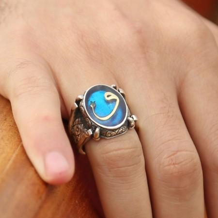 Tesbihane - Mavi Mine Üzerine Vav Harfli 925 Ayar Gümüş Oval Yüzük