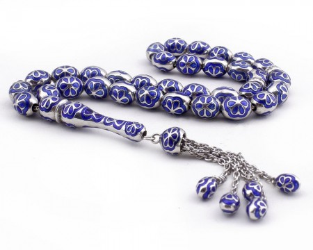 Tesbihane - Mavi Mineli 925 Ayar Gümüş Tesbih